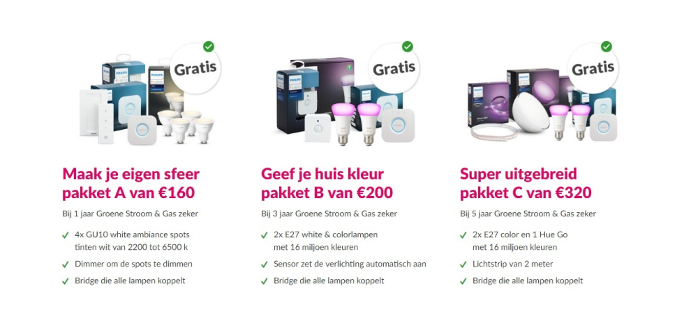 essent philips hue pakket gratis