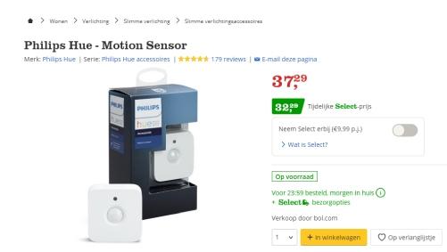 5 euro korting op Hue sensor