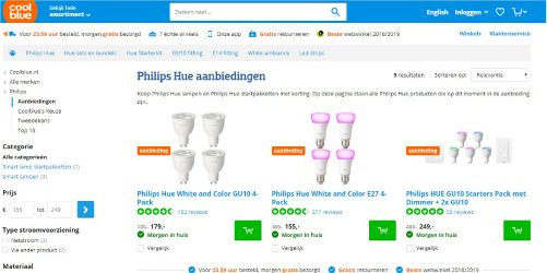 Philips Hue aanbiedingen CoolBlue